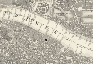 Map of Southwark, London circa 1870.